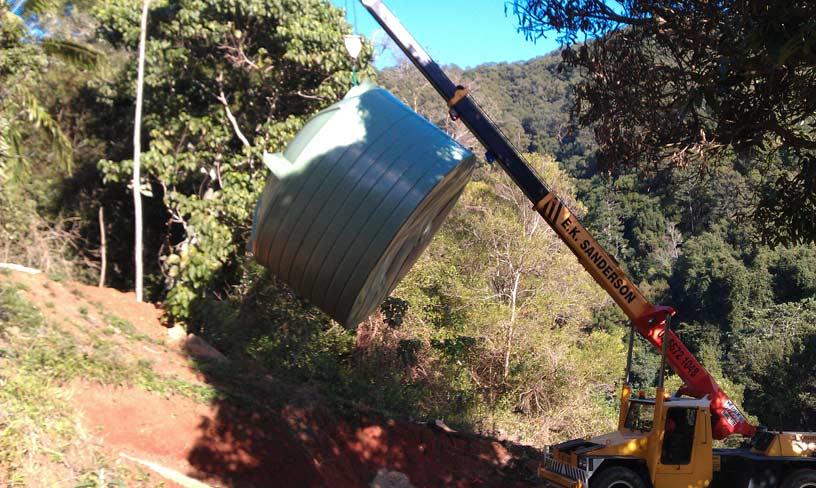 Duraplas Tanks - built tough! Crane install by others.